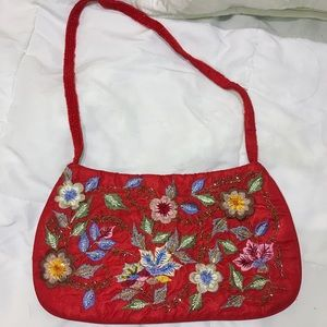 Handbags - Red Floral Beaded Purse